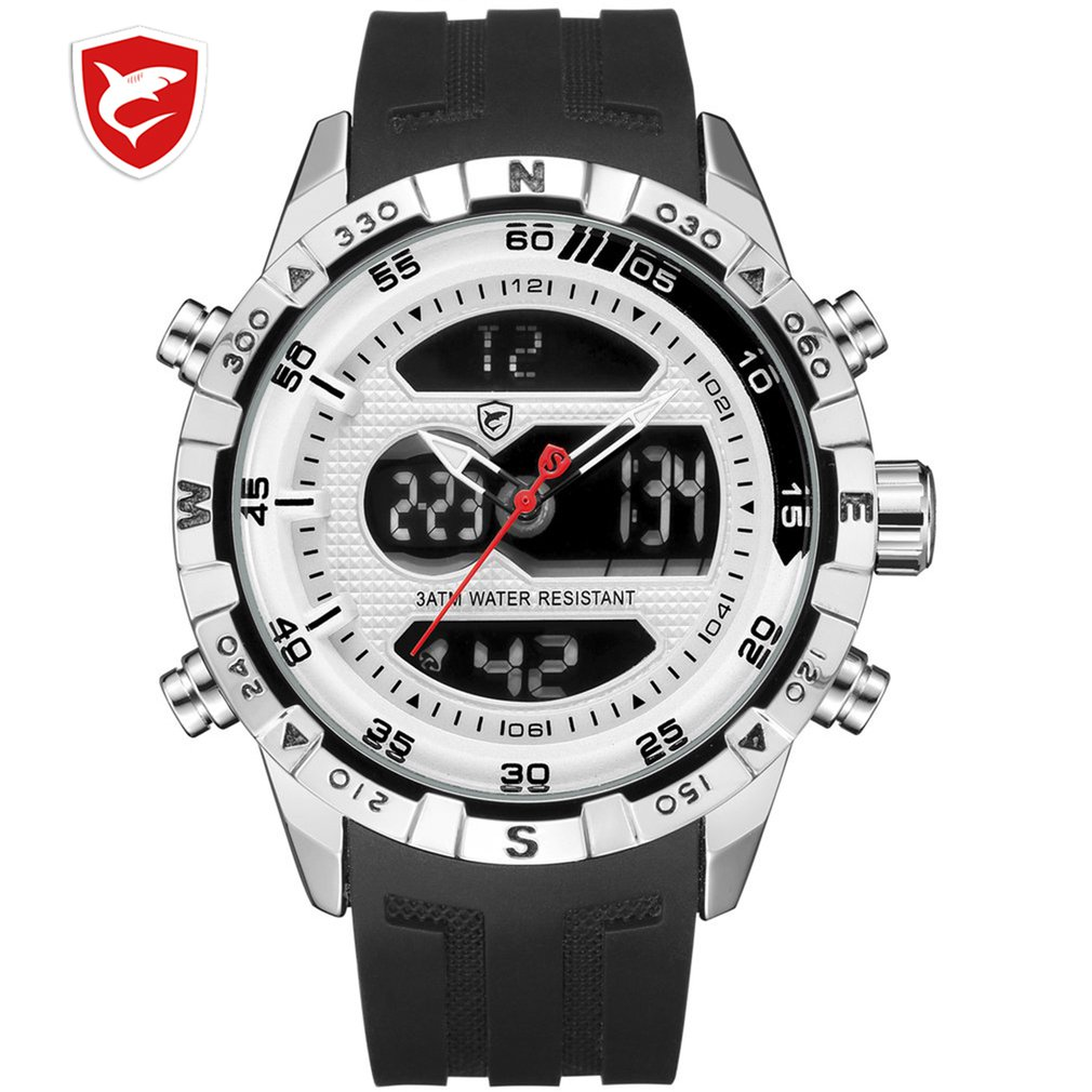 Diseño genial hombre tiburón cronómetro calendario Auto fecha alarma LCD reloj doble hora goma banda exterior relojes erkek kol saati/SH599
