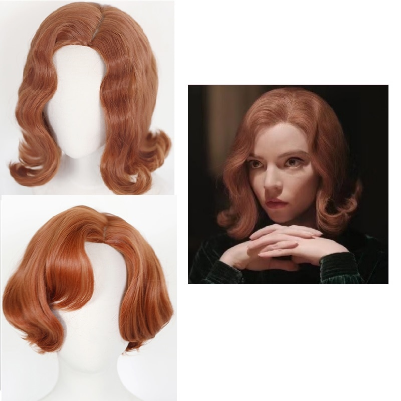 The Queen's Gambit Cosplay Wig TV Heroine Beth Harmon Wig Lovely Retro Beth Lady Curly Hair With Fre