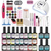Nail Set UV LED Lamp 80W 54W Dryer With 24/16/8pcs Nail Gel Polish Kit Soak Off Manicure Nail Tools