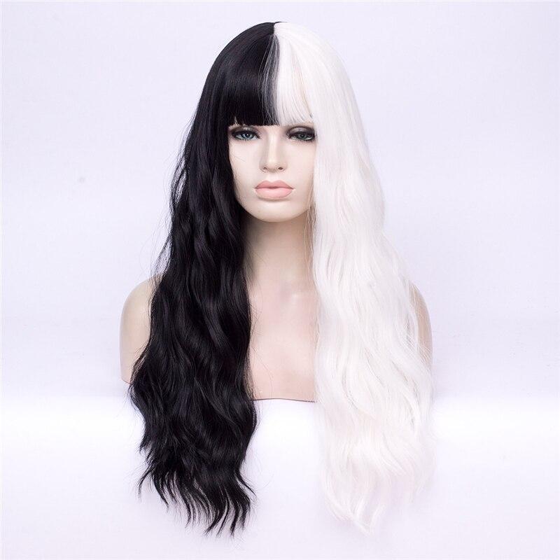 Gaka feminino metade preto e branco cosplay peruca sintética para senhora longa fibra resistente ao calor falso ondulado cabelo