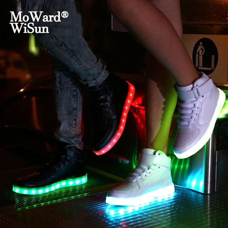 Tamaño 25-42, zapatillas luminosas con carga USB para niños, cestas, zapatos LED brillante con suela iluminada para niños, zapatillas LED para niñas