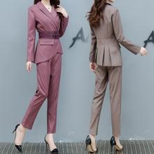 Automne nouvelle dernière mode femmes irrégulière Blazer haut crayon pantalon bureau dame Style costume deux pièces ceinture décoration tenue costumes