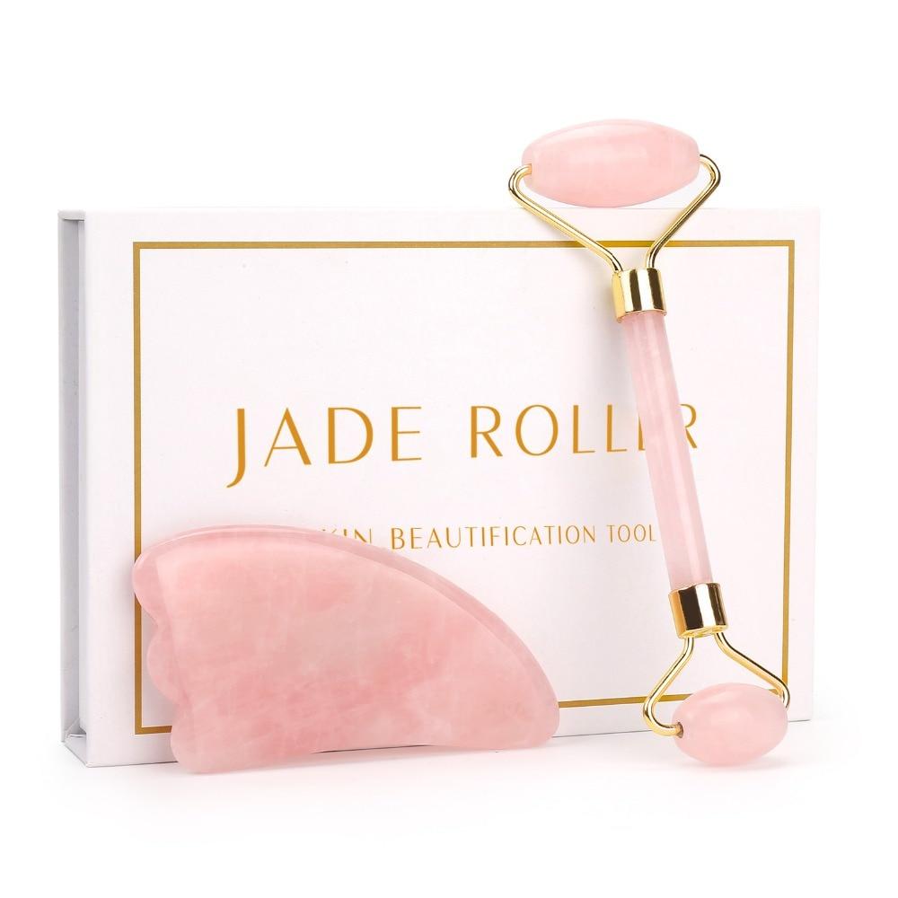 Masajeador Facial de cuarzo rosa Natural, rodillo de Jade para cuerpo, masajeador de Jade, rodillo de hielo para cuidado de la piel, herramienta de belleza para eliminación de arrugas