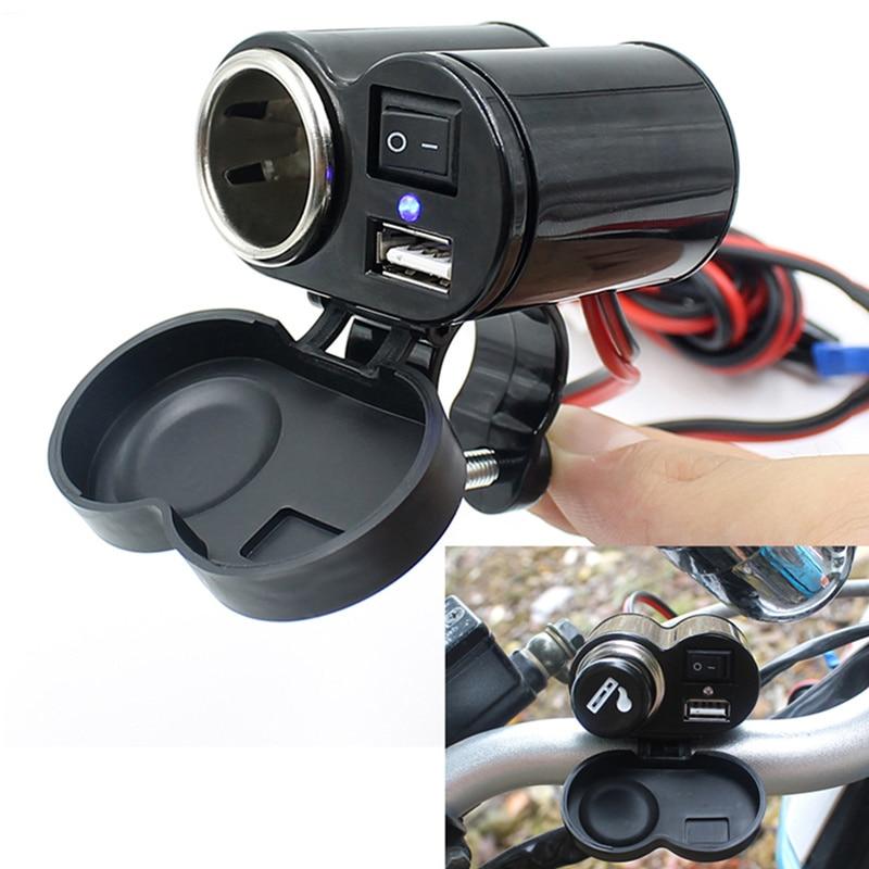 Мотоцикл мобильный телефон зарядное устройство держатель прикуривателя с переключателем Водонепроницаемый Автомобильный GPS адаптер USB за...