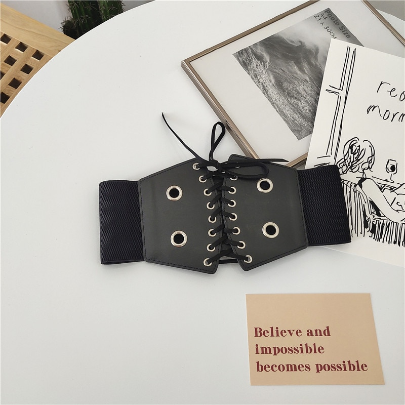 INS Style Women's Waist Seal Lace-up Wide Belt Lace-up Body Shaping Fashion Outerwear Accessories Sh