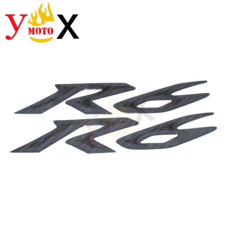 Pair R6 Motorcycle 3D Carbon Fiber Fuel Tank Side Fairing Logo Emblem Sticker Decal Symbol Mark Badge For Yamaha YZF 600 YZF-R6