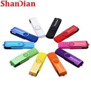 USB флеш-накопитель SHANDIAN, OTG высокоскоростной накопитель 64 ГБ 32 ГБ 16 ГБ 8 ГБ 4 ГБ, внешний накопитель, двухсторонний, флэшка с Micro USB