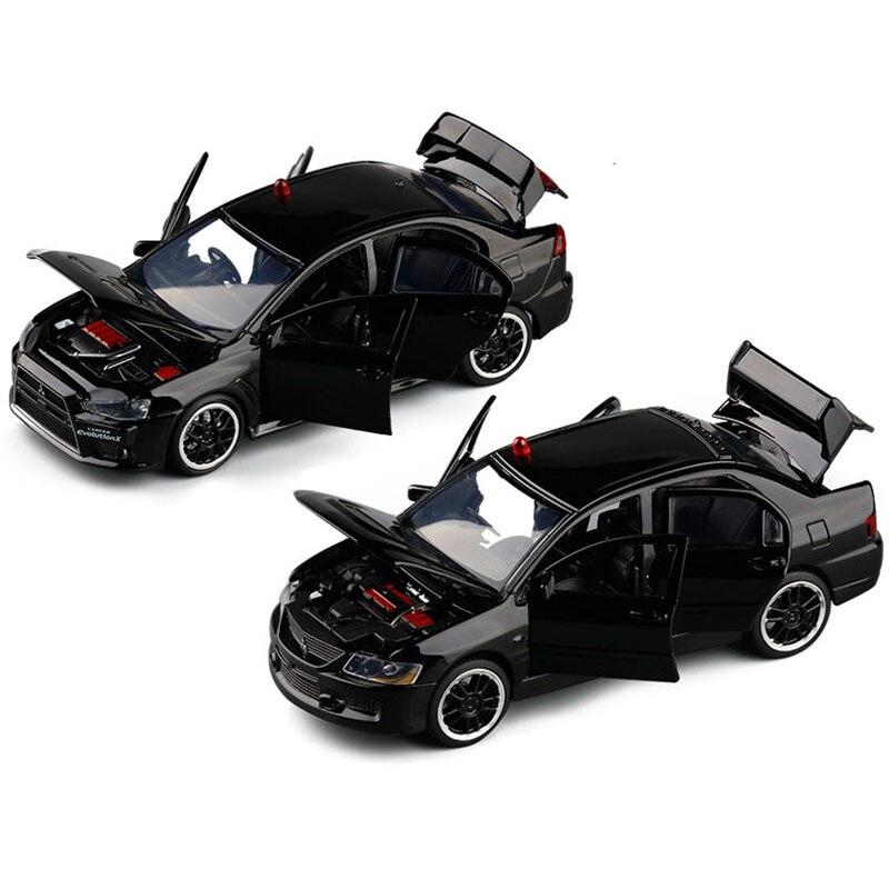 1/32 sonido de simulación luz Lancer EVO IX 9 EVO X 10 aleación modelo de policía fundido a presión juguete niños regalo Juguetes Coche