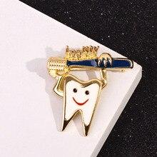 Mignon doux dents broche broches émail santé Logo émail brosse à dents broche Badge broches et broches fête dent broche pour les femmes filles