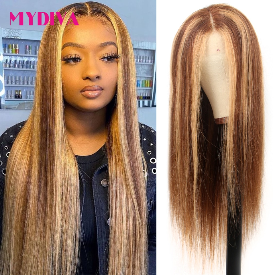 Highlight Wig Human Hair Colored Straight Lace Front Wig Pre Plucked 13x1 P4/27 Ombre Lace Front Human Hair Wigs For Black Women