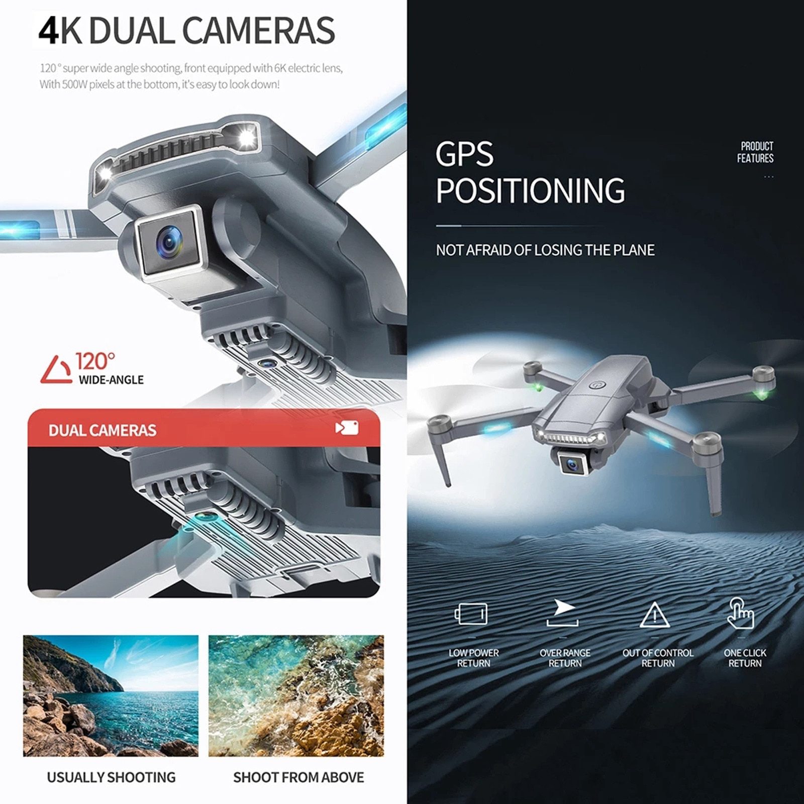 RC Dron S179 Long Distance Drone 4k Hd Camera Gps Automatic Return Professional 5g Wifi Fpv Brushless Foldable Quadcopter #F