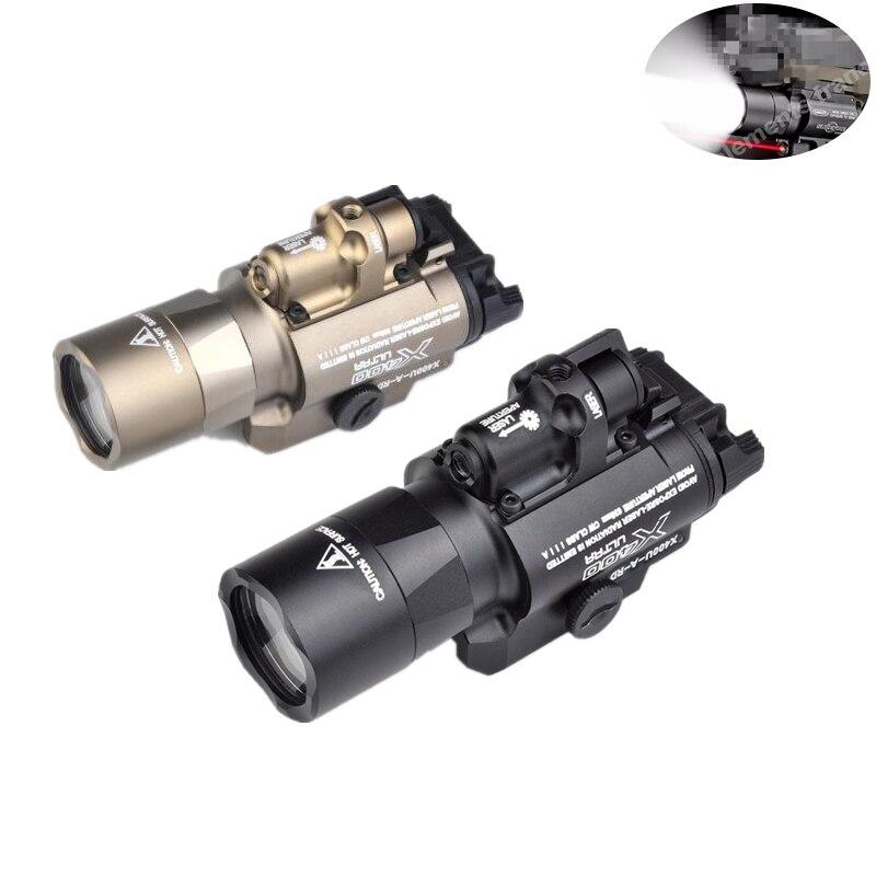 Airsoft Surefir X400 Ultra Flashlight Red Laser 20mm Picatinny Weaver Rail Mount 450 lumen X400U Tactical Gun Light
