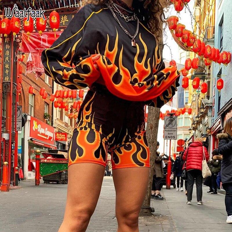 Waatfaak chama impressão streetwear hoodies feminino outono inverno harajuku moletom oversized preto hip hop moletom suor femme 2019
