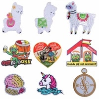 cute diy unicorn sheep animal patch iron on patches embroidered patches for clothes stripe sewing decorate patch cartoon sticker