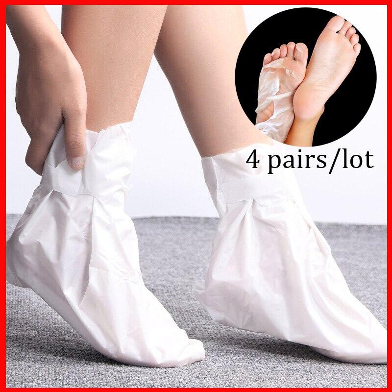 Mascarilla Exfoliante para pies, calcetín para pedicura, mascarilla Exfoliante para pies, tacones, mascarilla para piel muerta, 4 pares