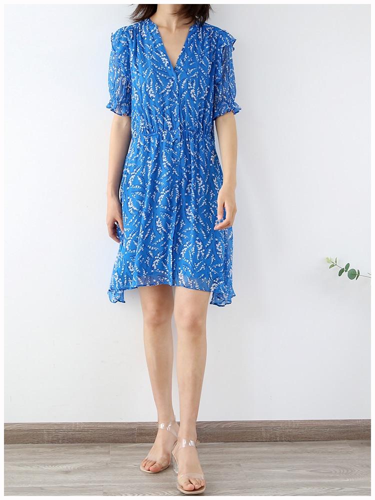 Mini vestido con cuello en V y estampado Floral para mujer, Vestido corto con mangas abullonadas, suave asimetría, cintura elástica, vestidos cortos femeninos, vestido de verano con botones
