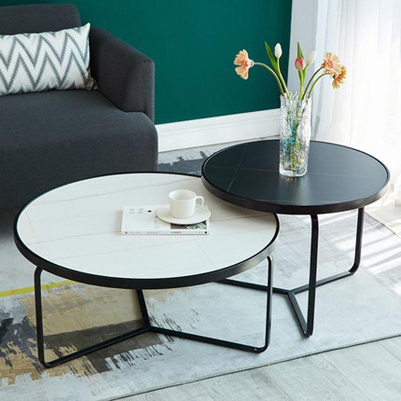طاولة شاي الإبداعية روك لوحة مستديرة طاولة شاي مزيج منزل صغير نوع الحديثة بسيطة ضوء فاخر طاولة شاي صغير غرفة المعيشة