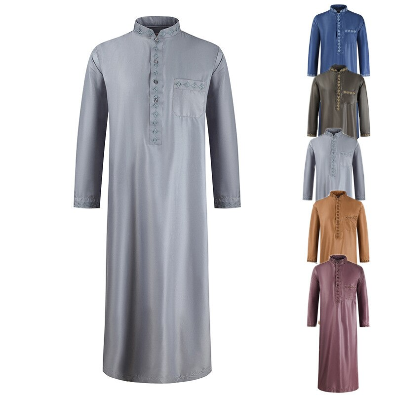 Men Traditional Muslim Jubba Thobe Arabic Islamic Solid Clothing Autumn Fashion Kaftan Dress Saudi Arabia Dubai Abaya Long Robes