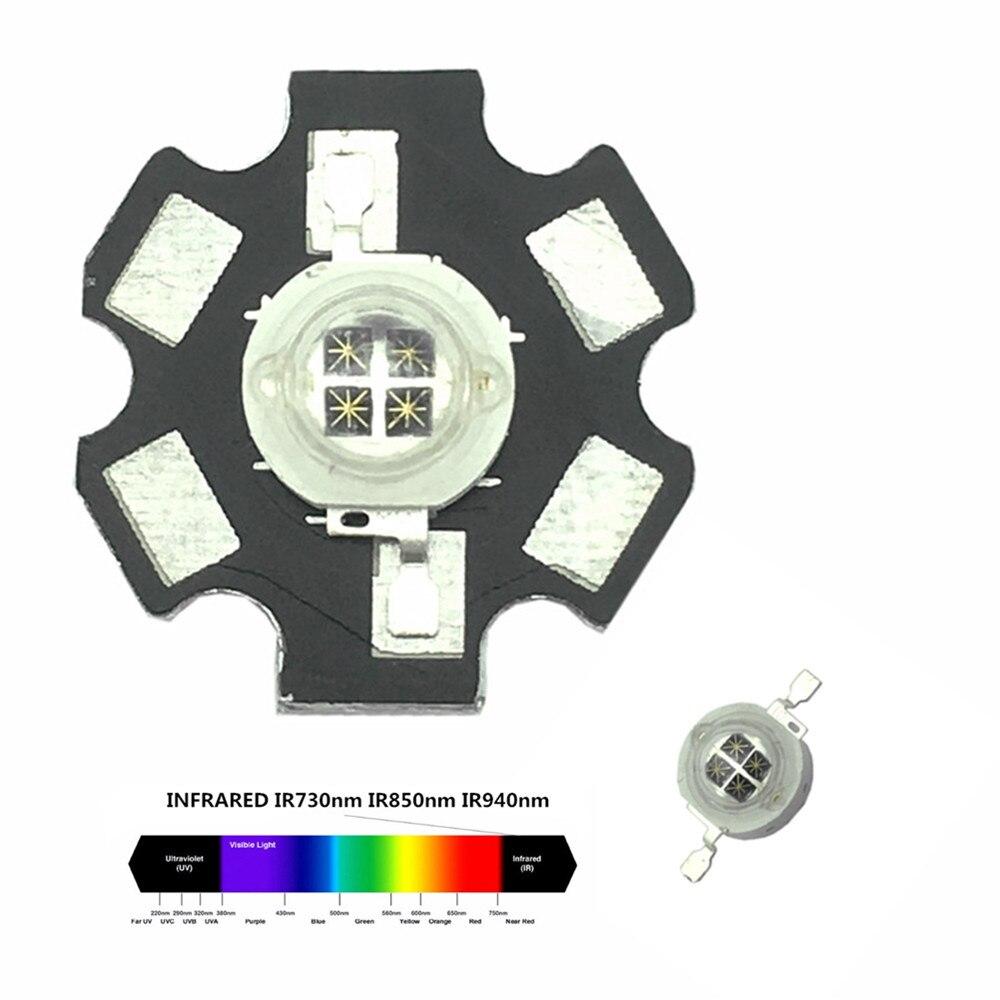 1 piezas 5W infrarrojos IR 940NM LED de alta potencia de emisor 4 chip DC1.4-1.7V 1400mA con 20mm PCB para cámara de visión nocturna