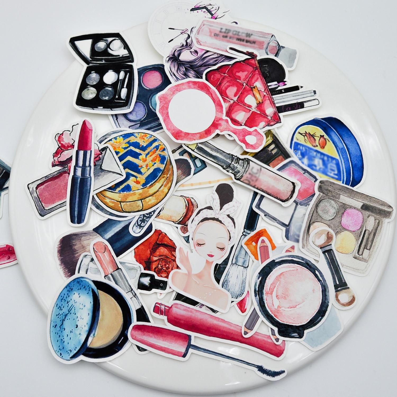 37 pçs mão desenho aquarela beleza cosméticos adesivo/batom decoração caderno planejador scrapbooking/adesivos bullet journal