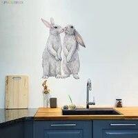Autocollants muraux decoratifs en vinyle avec des lapins qui embrassent la cuisine ou le refrigerateur  papier peint decoratif pour la maison  le salon ou la salle de bain