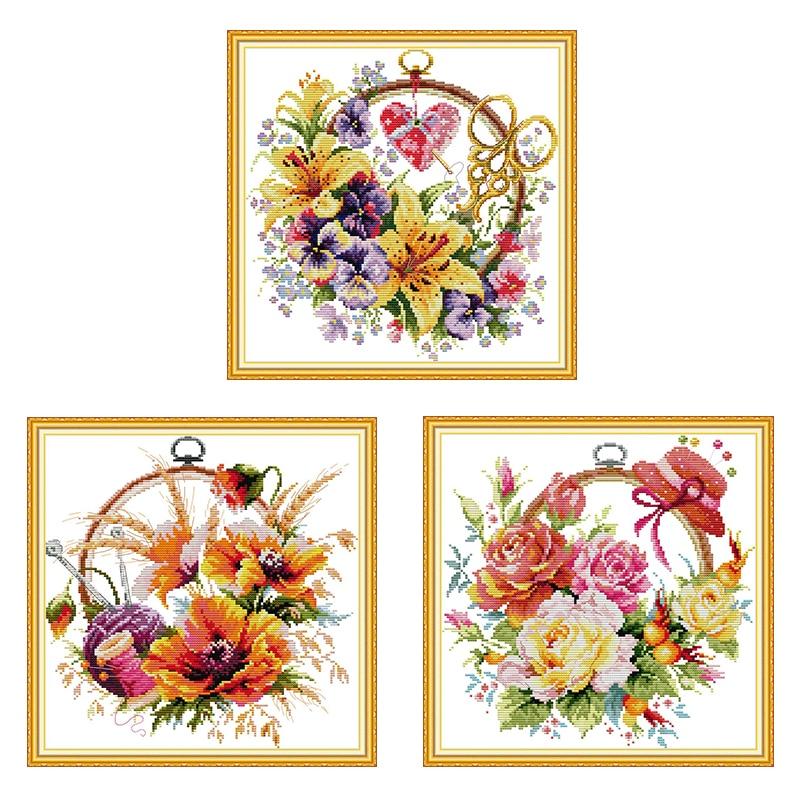 Varios serie de cesta de flores Kit de punto de cruz Lily Rose Poppy Aida 14ct 11ct Kit de bordado de tela blanca DIY costura Manual