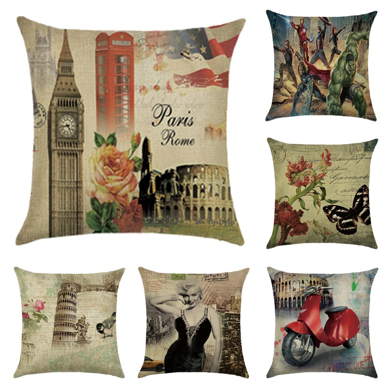 Vintage London Pattern Print Cushion Cover Linen Decorative for Sofa Seat Soft Throw Pillow Case Cover 45x45cm Home Decor