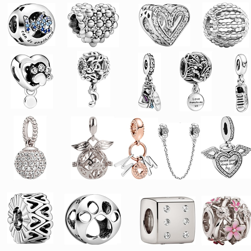 Silver Color Pendant Dog Paw Flower Love Mom Fit Pandora Charms Bracelets DIY Jewelry Women Original Beads Jewelry Accessories