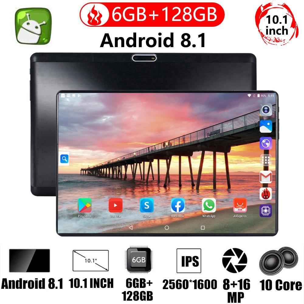 كمبيوتر لوحي 10 بوصة ثنائي الشريحة, 4G LTE FDD 6GB RAM 128GB ROM IPS Kids Gift 5.0MP GPS WiFi Bluetooth 4G Tablet 10 10.1