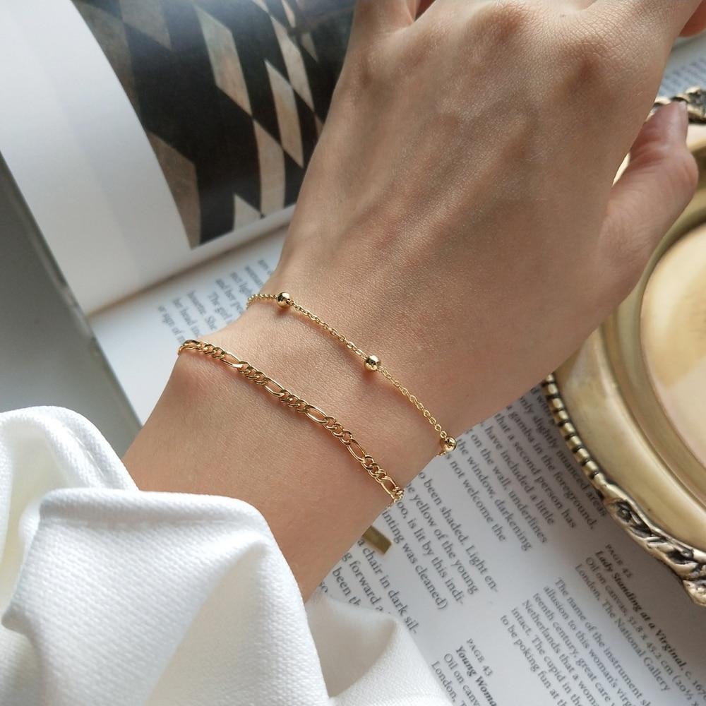 925 Sterling Silver Solid Flat Figaro Chain Bracelet 18K Gold Link Chain with Bead Women Trendy Simple Jewelry Bracelets