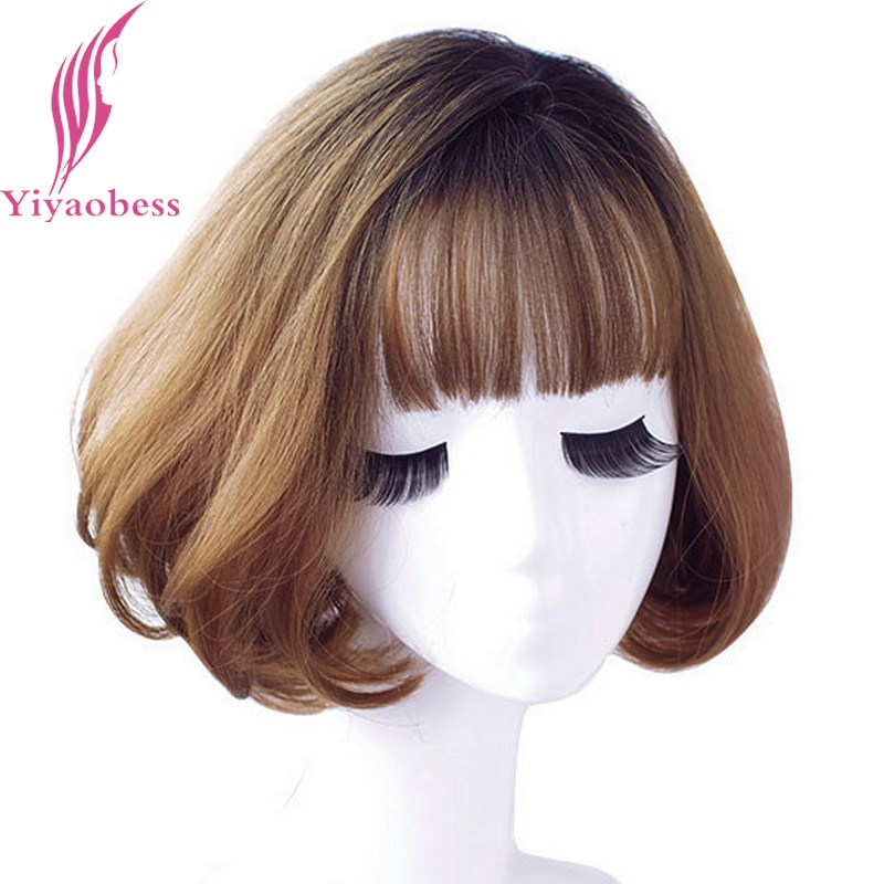 Yiyaobess Black Brown Linen Grey Ombre Synthetic Wave Wig Short Bob Wigs For Women Natural Hair High Temperature 12inch