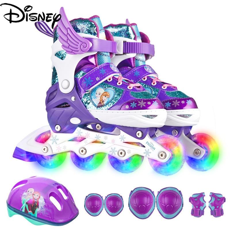 Genuine Disney Skates Children Full Set of Inline Rollers Full Flash Mesh Breathable 3-10 Years Old Beginner Roller Skates