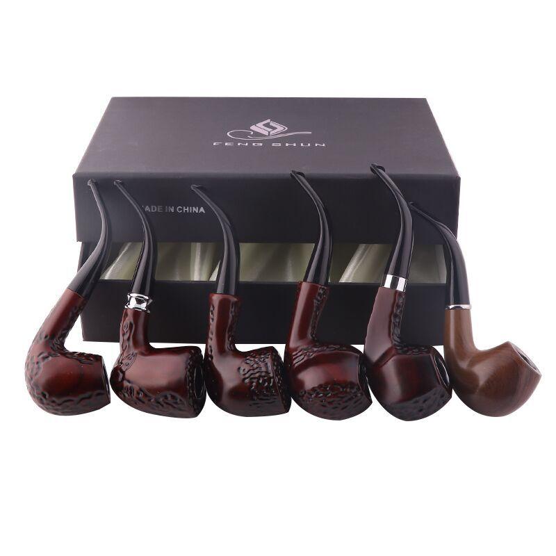 Klassische 6 Teile/satz Holz Farbe Tabak Rauchen Rohre Umweltfreundliche Handgemachte Harz Rohre Beste Geschenk Großvater Junge Vater LA10