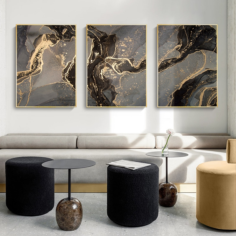 Golden Black Abstract Line Canvas Poster Marble Luxury Print Modern Home Decor Wall Art Painting Wall Pictures for Living Room