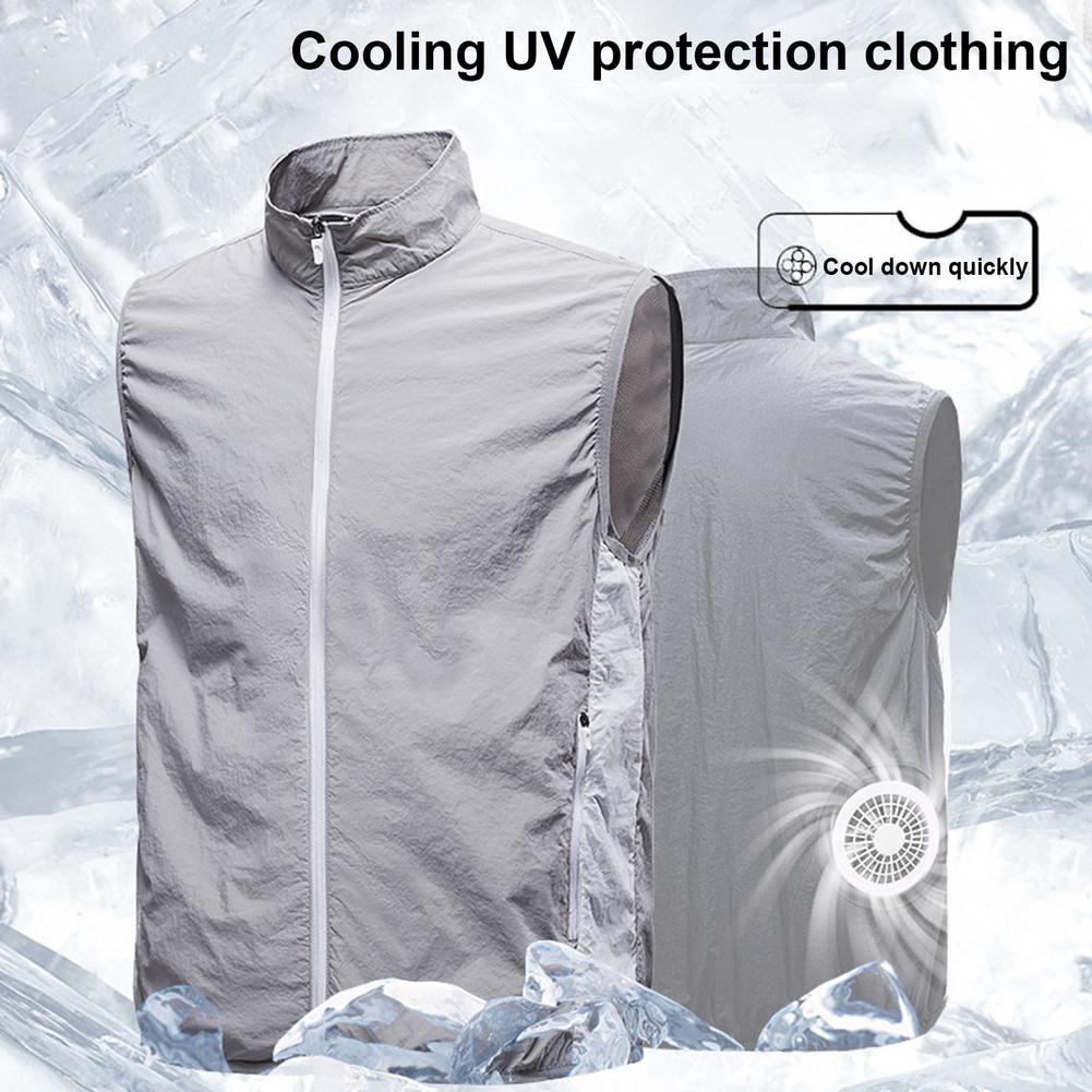 Camisa com ar Condicionado para Ciclismo ao ar Colete de Refrigeração com 2 Verão Ventilador Unisex Livre Proteção Solar Jaqueta Colete M-2xl Fãs