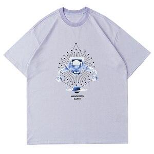 LACIBLE Tshirts Streetwear Hip Hop Harajuku Astronaut Planets Print Tees Shirts Fashion Casual Cotton Short Sleeve Loose Tops