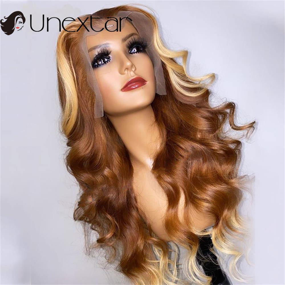 13x4 Colored Honey Blonde Highlight Light Brown Lace Part Wig Ombre Wavy Human Hair Wig For Black Women Preplucked