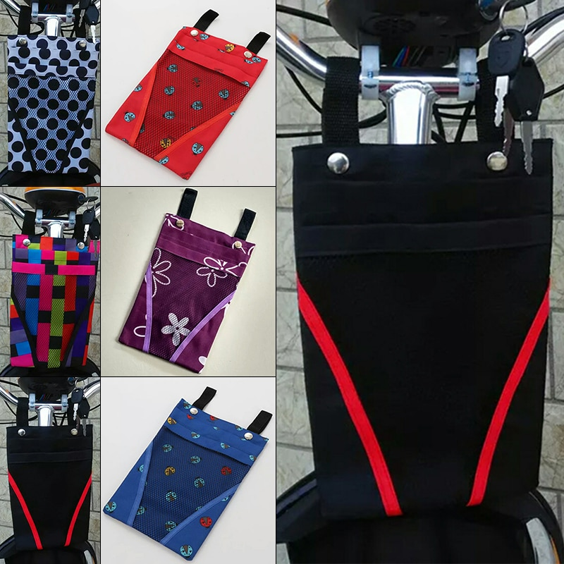 Ciclismo bicicleta bolsa accesorios tela teléfono móvil Pannier portador Nylon almacenamiento bolsa de color al azar estilo