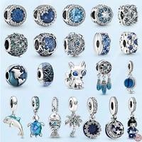 blue ocean heart series 925 sterling silver fish sea turtle pendant beads fit original pandora womens bracelet diy s925 jewelry
