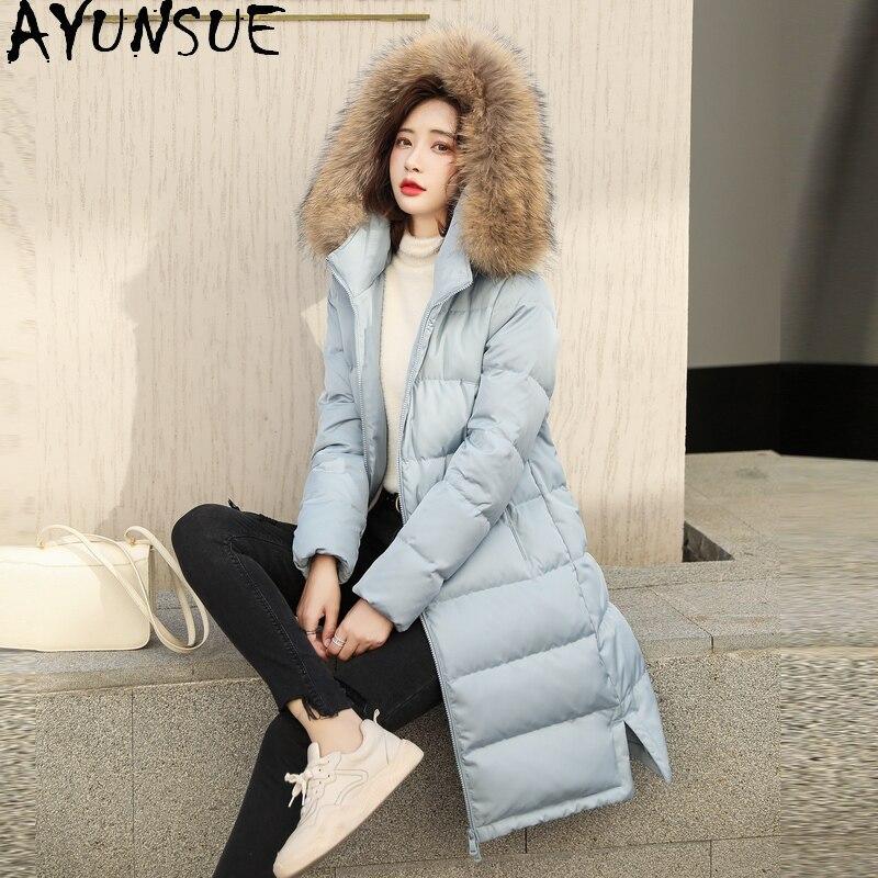 AYUNSUE-جاكيت شتوي نسائي ، معطف طويل مع فرو كلب الراكون الحقيقي ، جاكيت بطة بيضاء ، 2020 LW