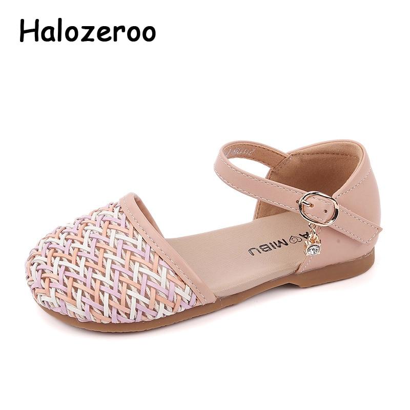 2021 الصيف الاطفال صنادل شاطئ طفل الفتيات نسج الأميرة أحذية الأطفال البيج ماركة Sandalias مغلقة حذاء بتصميم مقدم القدم لطيف جديد