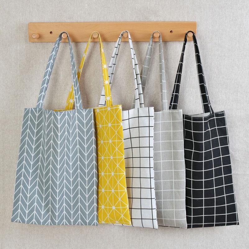 Fashion Reusable Cotton Linen Shopping Tote Bag Handbag Fashion Plaid Shoulder Bag