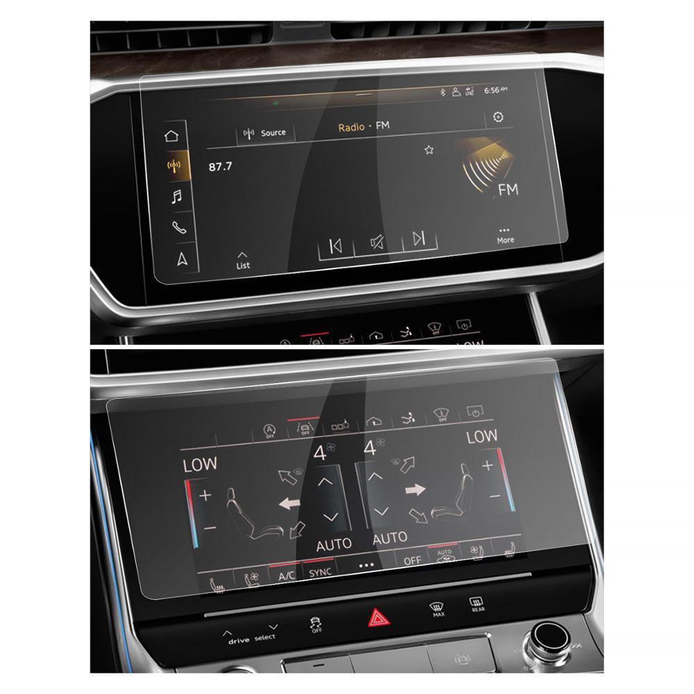 Ruiya navegação do carro protetor de tela para a6 a7 2019 2020 sistema multimídia tela toque interior do carro acessórios 2 pcs