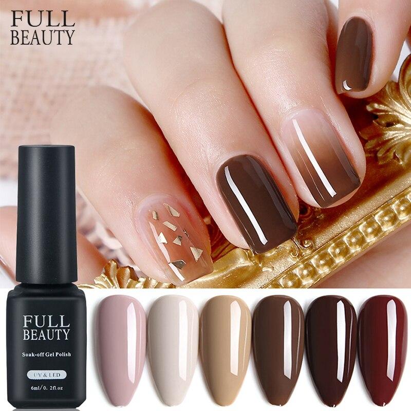 Full Beauty Gel Polish 6ml Brown Pure Nail Color Nail Varnish Lacquer Soak Off UV Hybrid Coffee Nail Art Polish Tools CHCB01-06