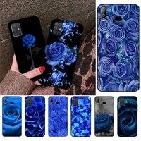 blue rose flower phone case for samsung galaxy a01 a11 a31 a81 a10 a20 a30 a40 a50 a70 a80 a71 a91 a51