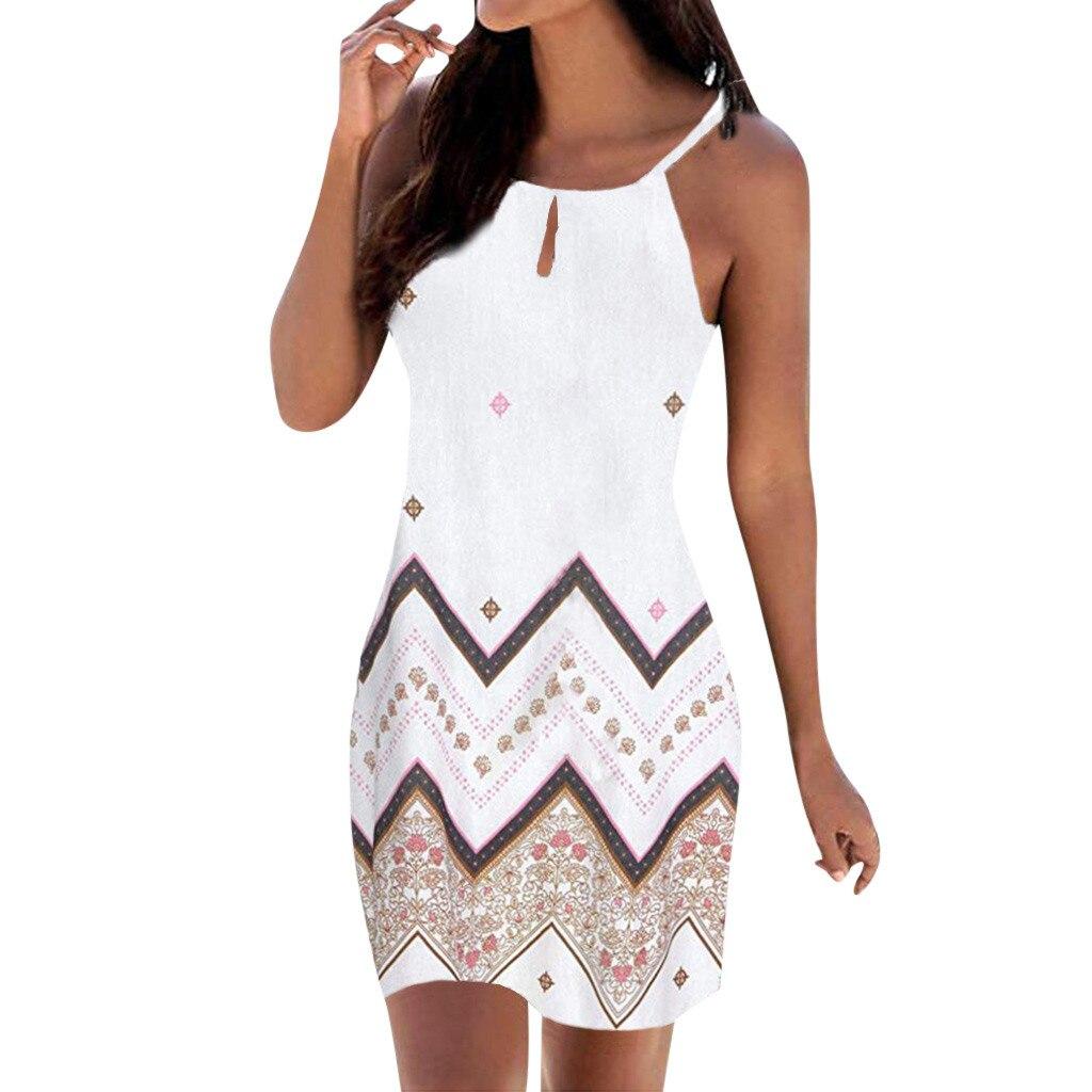 Vrouwen Halter Hals Boho Print Jurk Mouwloze Mini Beachwear Zonnejurk Plus Size Vakantie Mini Jurk Ropa De Invierno Para Mujer
