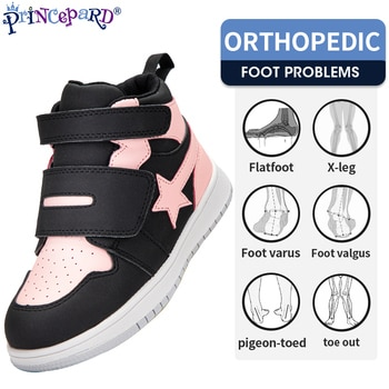 Princepard Kids Shoes Children Orthopedic Sneakers High Back Ankle Support Genuine Leather Stars Anti-Slip Sole Running Shoes