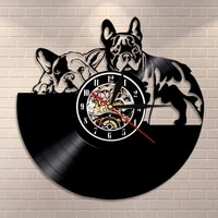 french bulldog couple wall art home decor wall clock made of vinyl record modern puppy dog wall clock dog breed dog owners gift