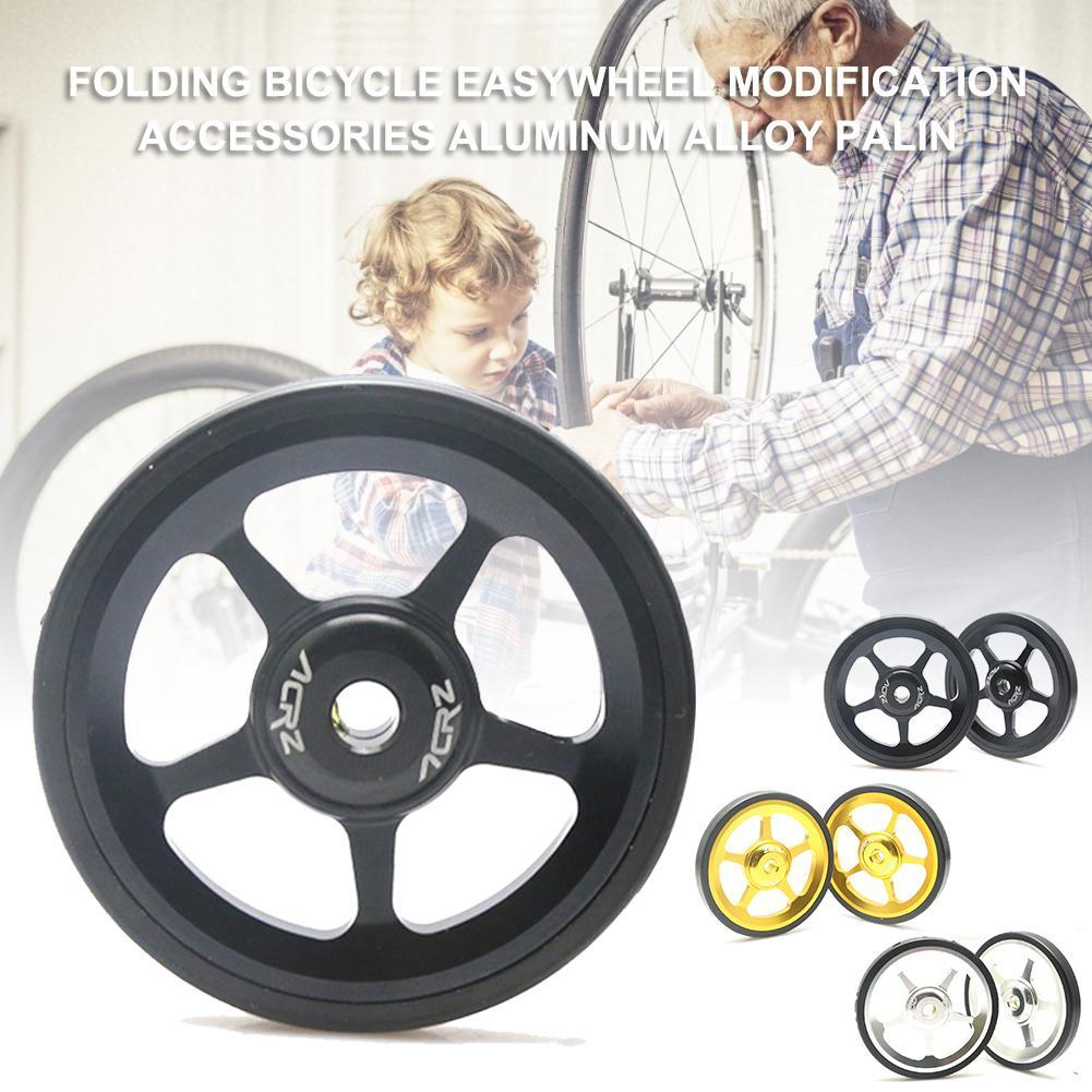 1 par bicicleta Easywheel 3 colores aleación de aluminio ruedas fáciles súper ligeras + pernos de titanio para bicicleta plegable Brompton