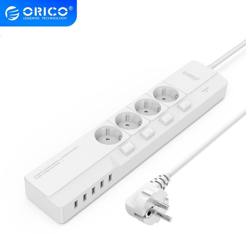 Toma de corriente ORICO EU, enchufe electrónico 4 AC 5, puertos de carga USB, multifuncional para el hogar y la Oficina, cargador de escritorio inteligente de carga rápida